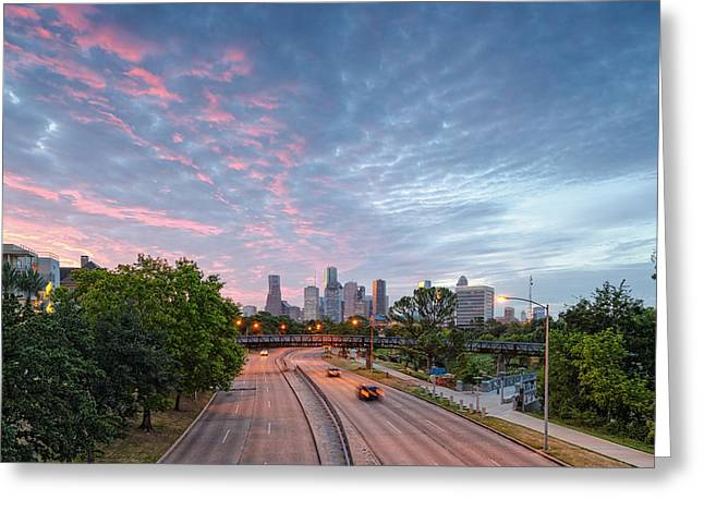 Commercial Photography Greeting Cards - Summer Sunrise - Downtown Houston Skyline Texas Greeting Card by Silvio Ligutti