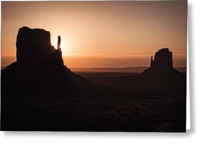 Sunrise Greeting Cards - Summer Sunrise Monument Valley Greeting Card by Garry Gay