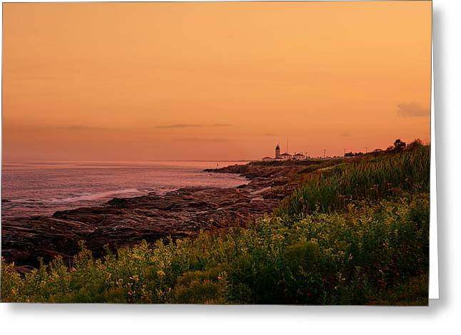 New England Ocean Greeting Cards - Summer Sunset Greeting Card by Lourry Legarde