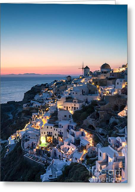 Sunset Posters Greeting Cards - Summer sunset over Santorini - Greece Greeting Card by Matteo Colombo