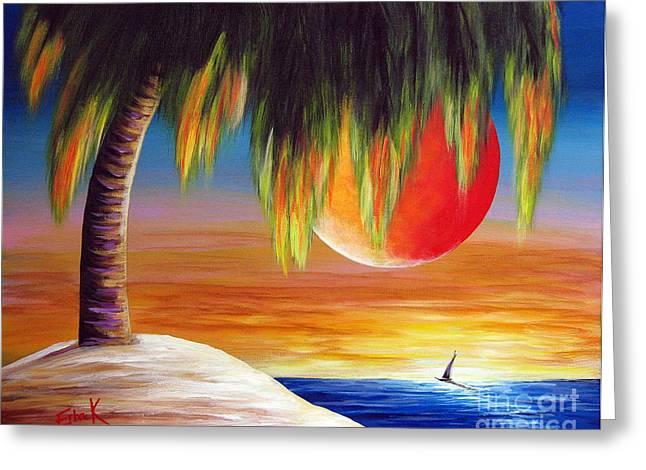 Yellow Sailboats Greeting Cards - Summer Sunsets by Shawna Erback Greeting Card by Shawna Erback