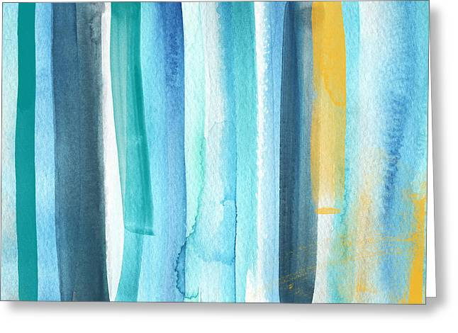 Striped Mixed Media Greeting Cards - Summer Surf- Abstract Painting Greeting Card by Linda Woods