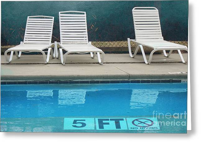 Summer Swimming Pool - Retro Summer Vacation Days - Swimming Pool Water And Chairs Greeting Card by Kathy Fornal