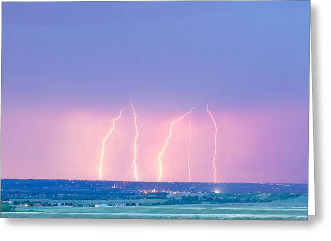 Lightning Gifts Greeting Cards - Summer Thunderstorm Lightning Strikes Greeting Card by James BO  Insogna