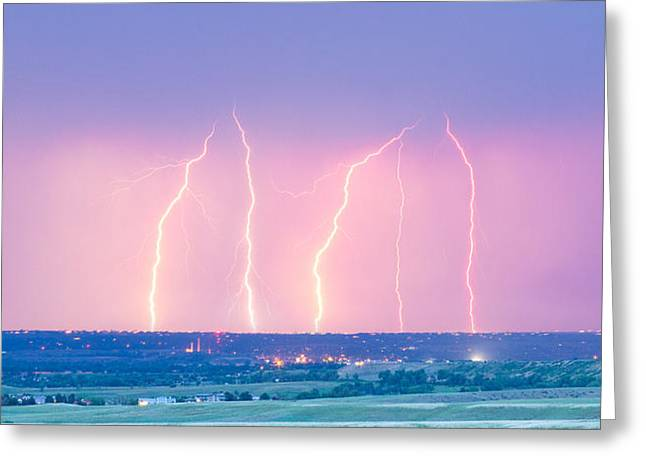 Lightning Gifts Photographs Greeting Cards - Summer Thunderstorm Lightning Strikes Panorama Greeting Card by James BO  Insogna