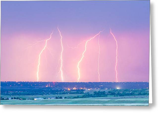 Summer Thunderstorm Lightning Strikes Panorama Greeting Card by James BO  Insogna
