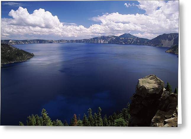Thunderstorm Greeting Cards - Summer Thunderstorms Over Crater Lake Greeting Card by Panoramic Images