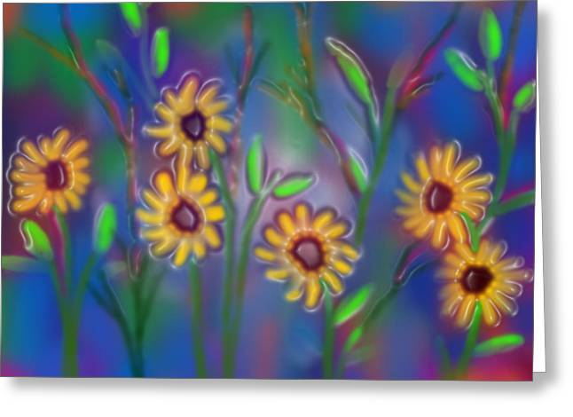 Yellow Sunflower Greeting Cards - Summer time sadness Greeting Card by Latha Gokuldas Panicker