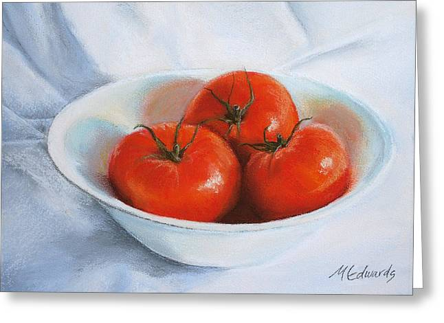 Tomato Pastels Greeting Cards - Summer Tomatoes Greeting Card by Marna Edwards Flavell