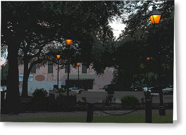 Streetlight Digital Art Greeting Cards - Summer Twilight in the Park Greeting Card by Suzanne Gaff