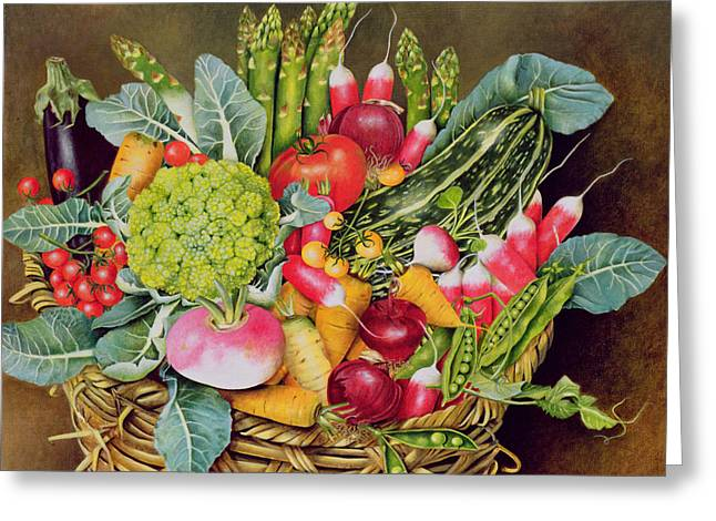 Red Leaves Greeting Cards - Summer Vegetables Greeting Card by EB Watts
