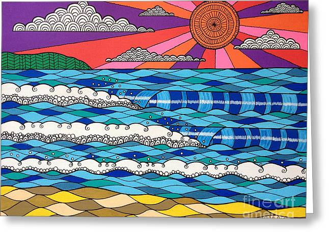 Wave Greeting Card featuring the digital art Summer Vibes by Susan Claire