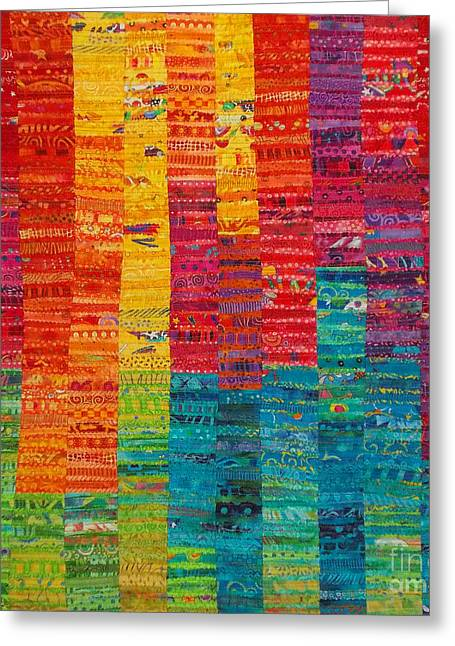 Abstract Quilt Tapestries - Textiles Greeting Cards - Summer Vibrations Greeting Card by Susan Rienzo
