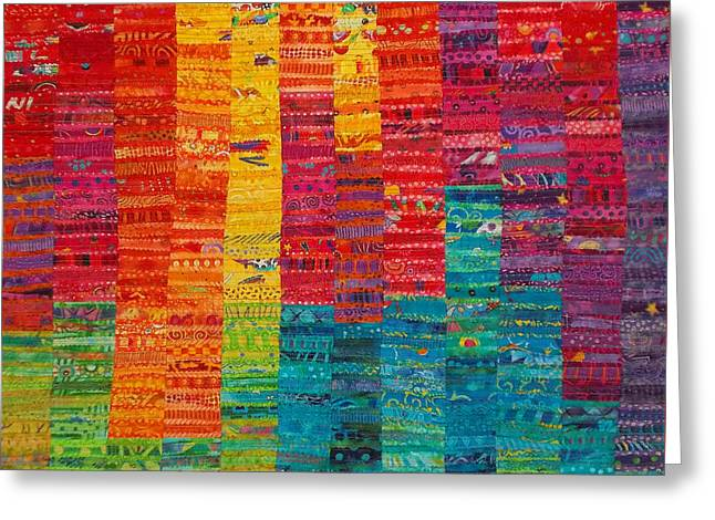 Print Tapestries - Textiles Greeting Cards - Summer Vibrations Greeting Card by Susan Rienzo