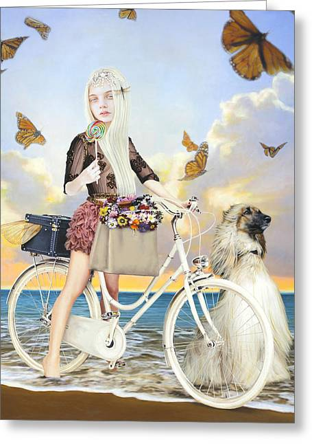 Girls Mixed Media Greeting Cards - Summer Greeting Card by Vic Lee