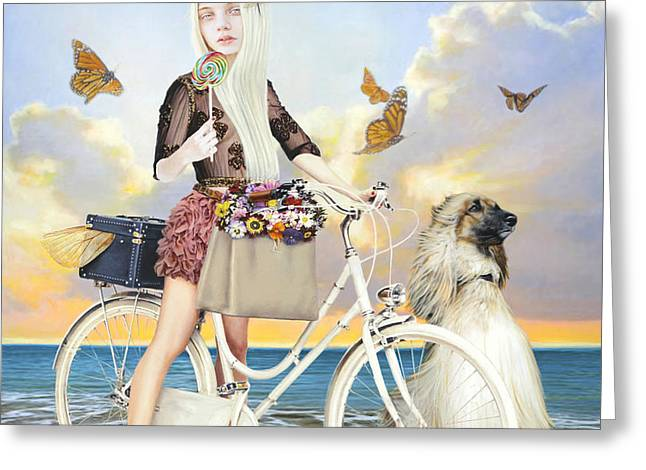 Blonde Mixed Media Greeting Cards - Summer Greeting Card by Vic Lee