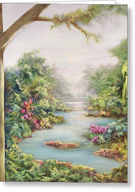Garden; Water; Falling; Flower; Pond Greeting Cards - Summer Vista  Greeting Card by Hannibal Mane