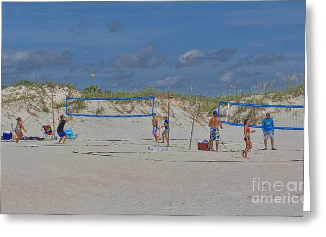 Volley Greeting Cards - Summer Volley Ball Greeting Card by Deborah Benoit