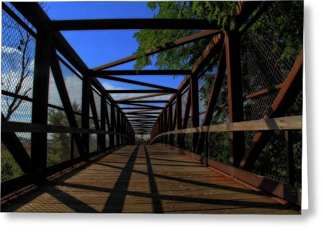On A Walk Greeting Cards - Summer Walk On The Bridge Greeting Card by Dan Sproul