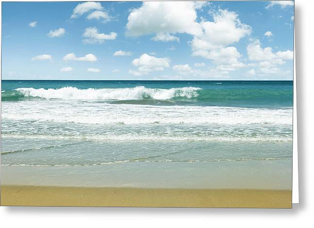 Beach Photos Greeting Cards - Summer waves Greeting Card by Les Cunliffe