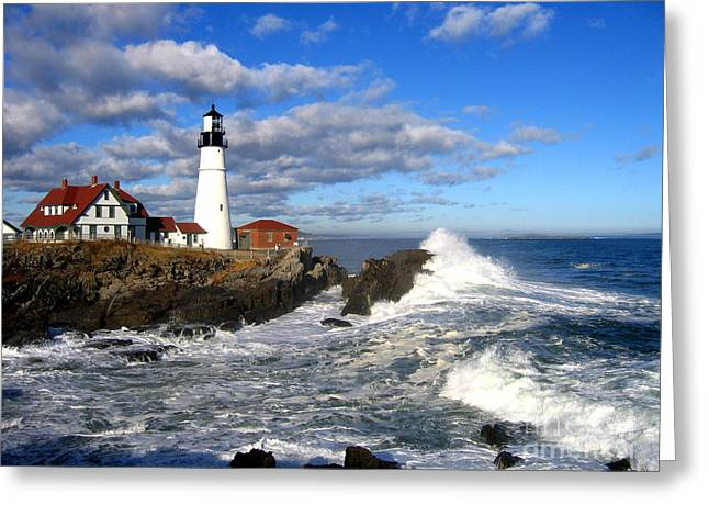 Portland Head Light Greeting Cards - Summer Waves Greeting Card by Lloyd Alexander