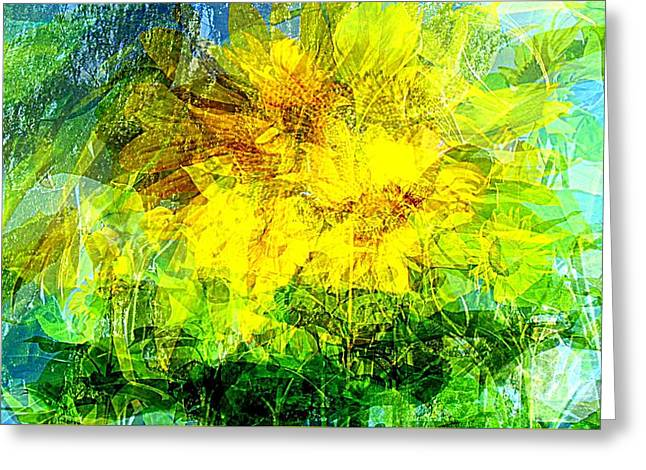 Yellow Sunflower Pyrography Greeting Cards - Summer wind gust Greeting Card by Pauli Hyvonen