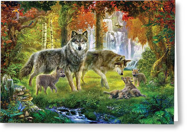 Puppies Greeting Cards - Summer Wolf Family Greeting Card by Jan Patrik Krasny
