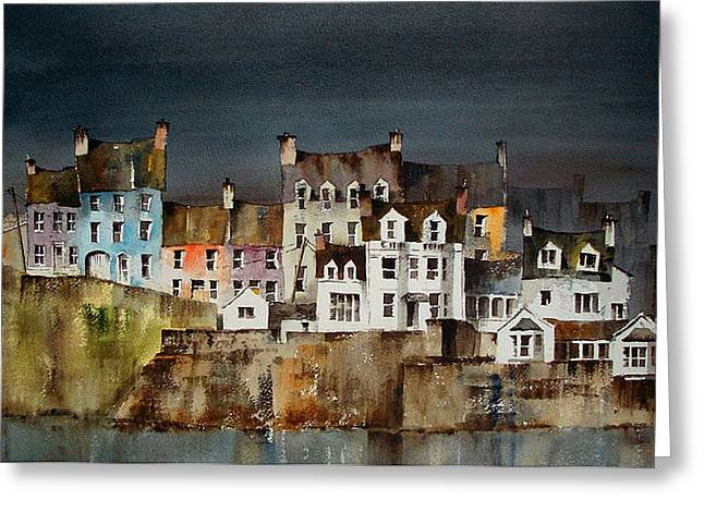 West Cork Greeting Cards - Summercove Dusk West Cork Greeting Card by Val Byrne