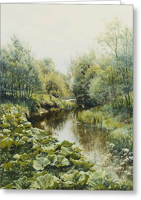 Danish Greeting Cards - Summerday at the Stream Greeting Card by Peder Monsted