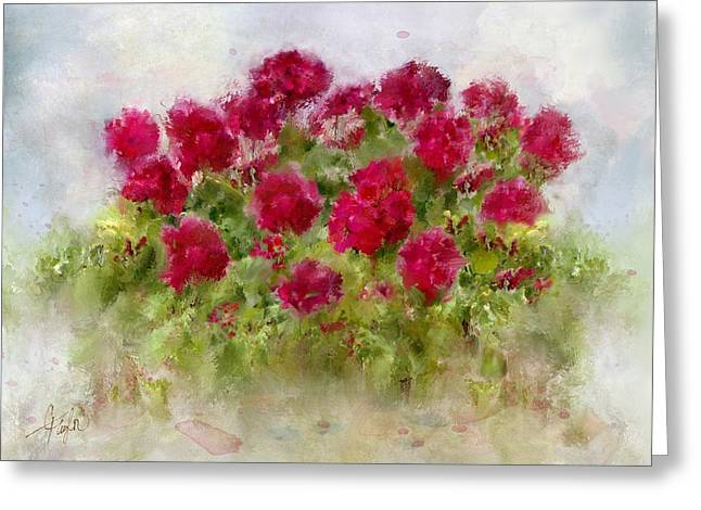Red Geraniums Mixed Media Greeting Cards - Summers Blush Greeting Card by Colleen Taylor