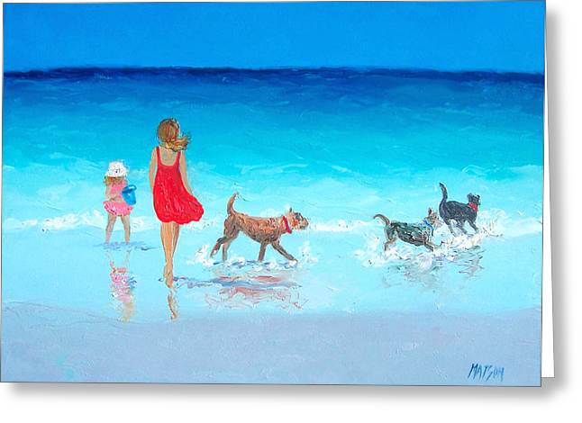 Dog Beach Print Greeting Cards - Beach painting - Summers End Greeting Card by Jan Matson