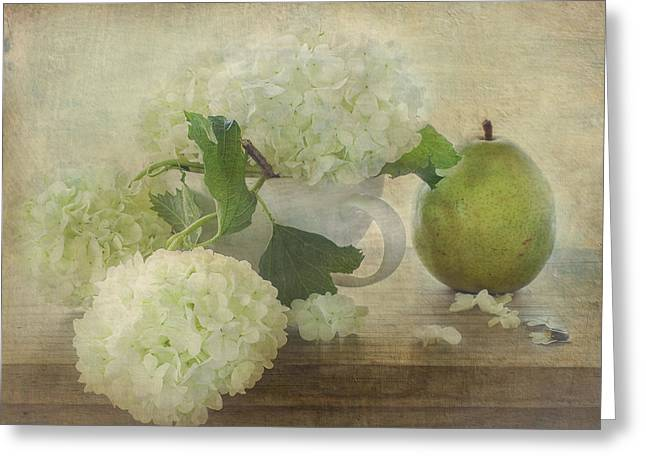 Green Pear Greeting Cards - Summers Green Greeting Card by Constance Fein Harding