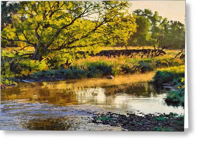 Morning Pastels Greeting Cards - Summers Stream Dawn Greeting Card by Bruce Morrison