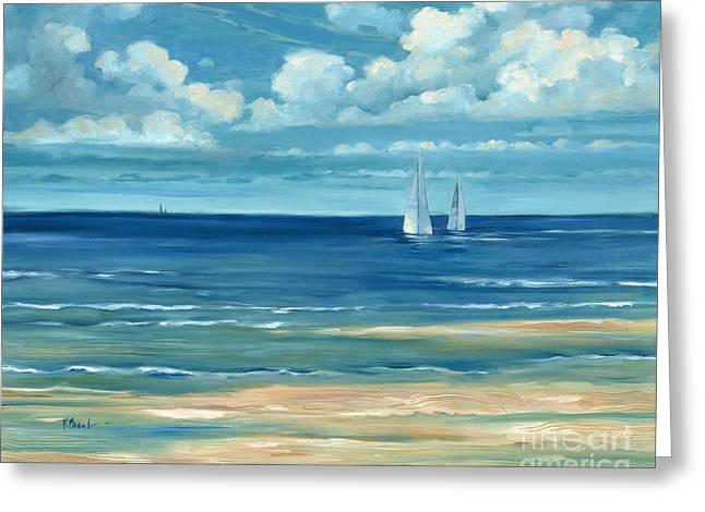 Blue Sailboats Greeting Cards - Summerset Sailboats Greeting Card by Paul Brent