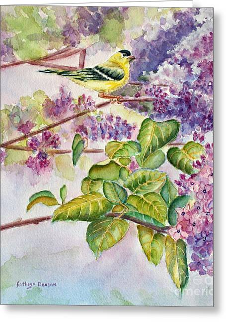 Songbird Greeting Cards - Summertime Arrival Greeting Card by Kathryn Duncan