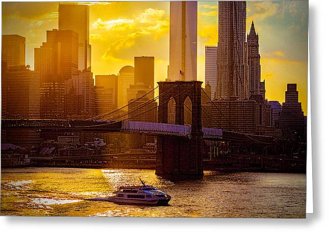 Summertime At The Brooklyn Bridge Greeting Card by Chris Lord