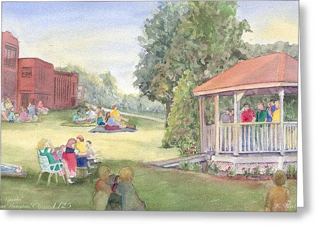 East Hampton Paintings Greeting Cards - Summertime at the gazebo Greeting Card by Katherine  Berlin
