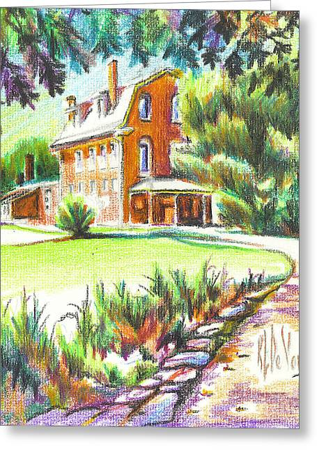 College Drawings Greeting Cards - Summertime at Ursuline No C101 Greeting Card by Kip DeVore