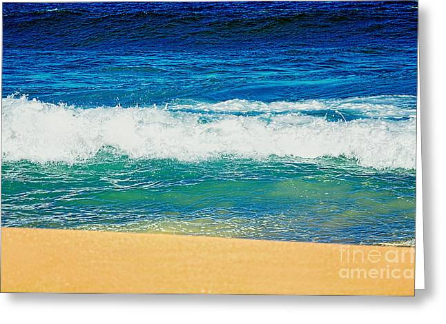 Blue Green Wave Greeting Cards - Summertime - Bands of Color Greeting Card by Kaye Menner