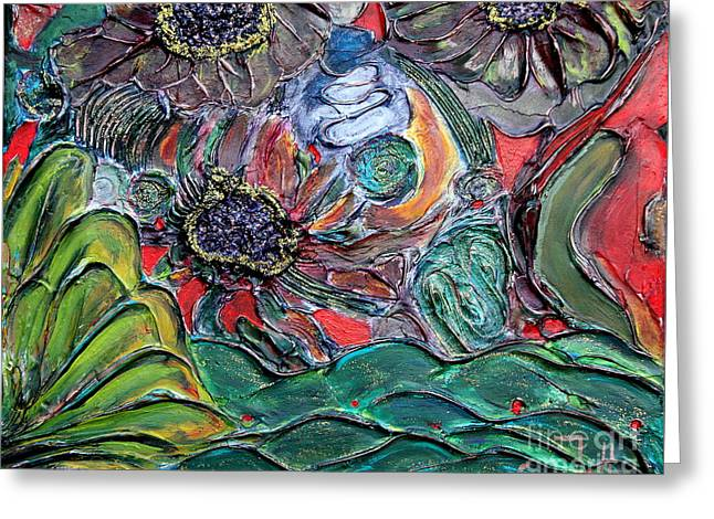 Garden Scene Mixed Media Greeting Cards - Summertime Bliss.. Greeting Card by Jolanta Anna Karolska
