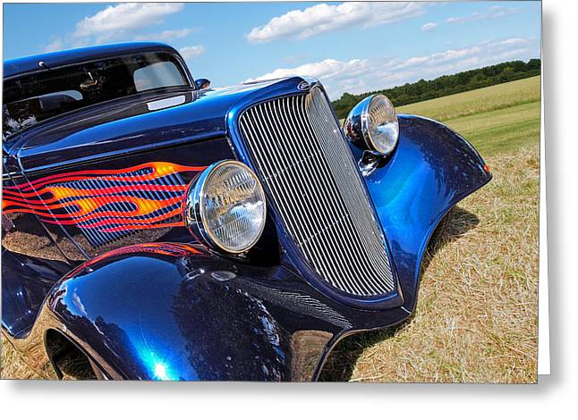Red Street Rod Greeting Cards - Summertime Blues - Ford Coupe Hot Rod Greeting Card by Gill Billington