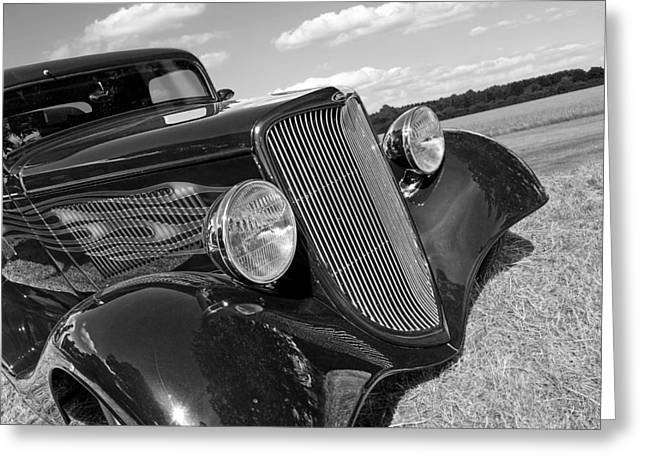 Monochrome Hot Rod Greeting Cards - Summertime Blues in Black and White - Ford Coupe Hot Rod Greeting Card by Gill Billington