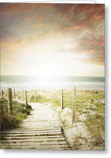 Beach Photograph Greeting Cards - Summertime boardwalk Greeting Card by Les Cunliffe