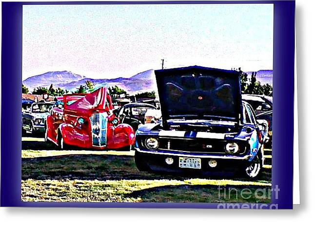 Print On Acrylic Greeting Cards - Summertime Class Car Show Greeting Card by Bobbee Rickard