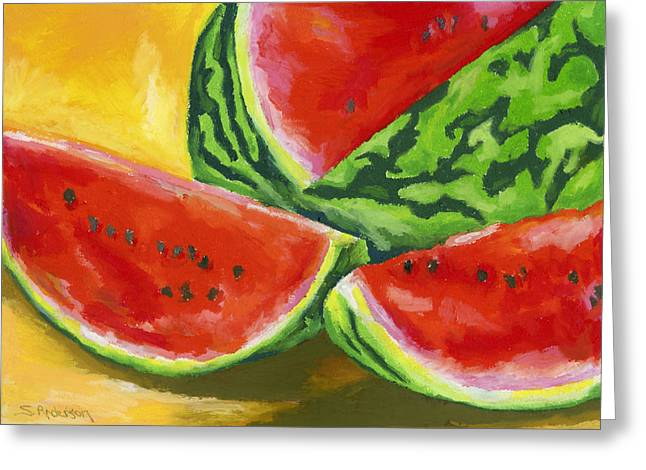 Watermelon Greeting Cards - Summertime Delight Greeting Card by Stephen Anderson
