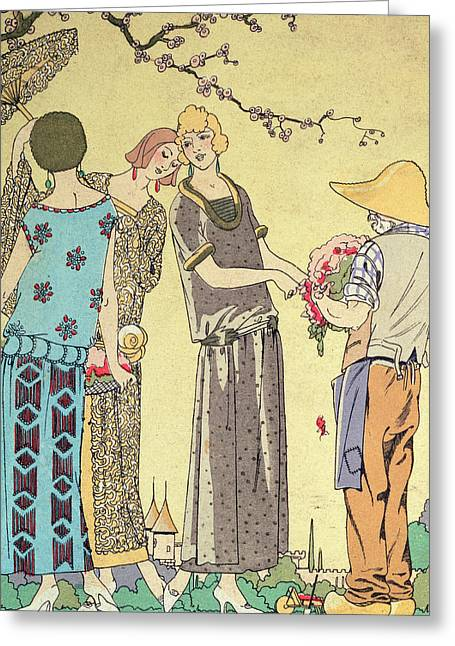 Twenties Greeting Cards - Summertime dress designs by Paul Poiret Greeting Card by French School