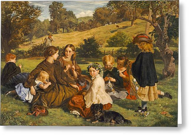 Gathering Greeting Cards - Summertime, Gloucestershire, Exh.1860 Oil On Canvas Greeting Card by James Archer