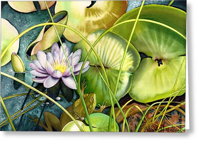 Frogs Greeting Cards - Summertime Greeting Card by Lyse Anthony