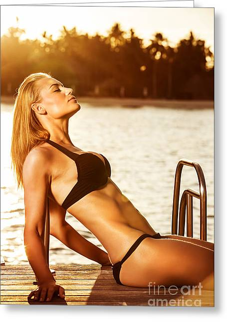 Supermodels Greeting Cards - Summertime photo shoot Greeting Card by Anna Omelchenko