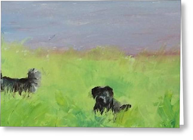 Puppies Paintings Greeting Cards - Summertime Play Greeting Card by Peggy Ellis